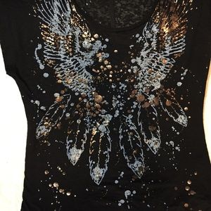 Rock & Republic burnout black/gold T-shirt Sz S
